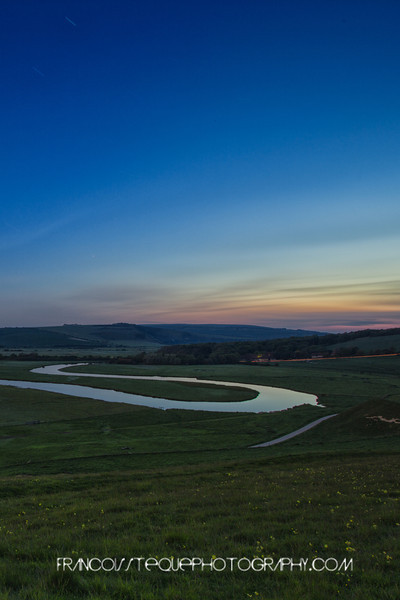 Meanders of the Cuckmere river just before sunrise