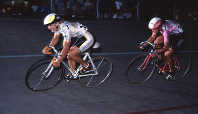 4-time world champion Connie Paraskavin-Young leads Rene Duprel, 1989 National Track Championships, Seattle