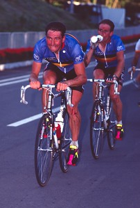 Dirk De Wolf (Bel) leads teammate and eventual winner Rudy Dhaenens, World Road Championships, 1990
