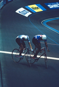 Jens Fieldler (left), East Germany in track stand with Ken Carpenter of the USA. 1990 World Championships, Japan