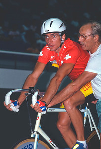 Peter Steiger (Swiss) readys to start the Demi-Fond final 1990 World Championships, Japan.