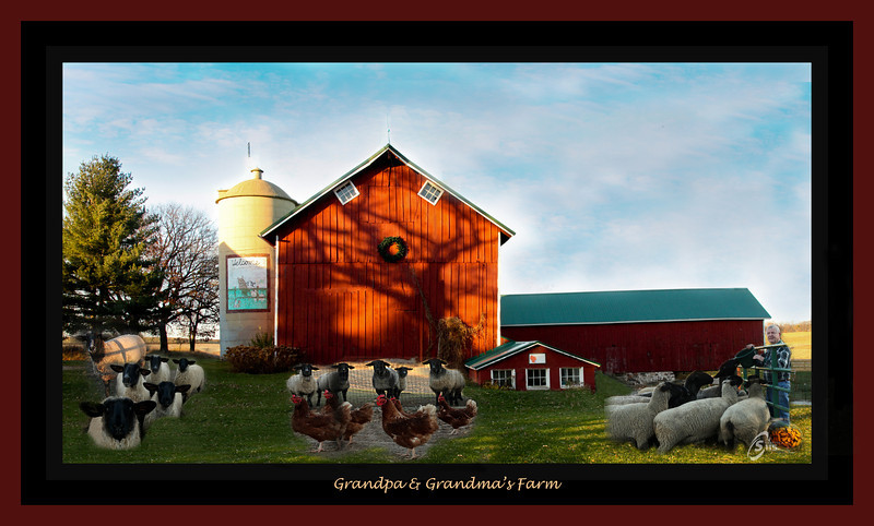 grandpa & Grandma farm red