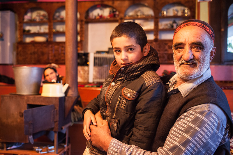 Goulberdi, his grandson Dior and Merenigor (Nevobod, Tajikistan)