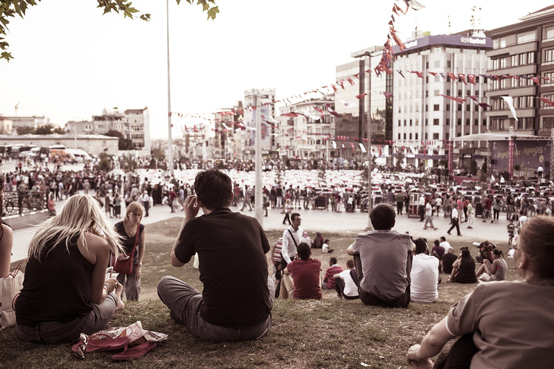 People waiting for Iftar on Taksim square, Istanbul (Turkey)