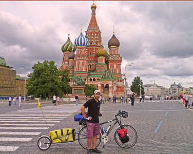 In 2011 26 yo Lukas Pichelstorfer cycled from his hometown Salzburg, to the Black Sea, all along the Danube - some 3000km - as a warm-up!! He then cycled across northeastern Europe, to contemplate life, after losing his job at the University of Salzburg (where he continues to work on his PhD). Here is in in Moscow - a city of 12 million people without a single bicycle path that he could find.