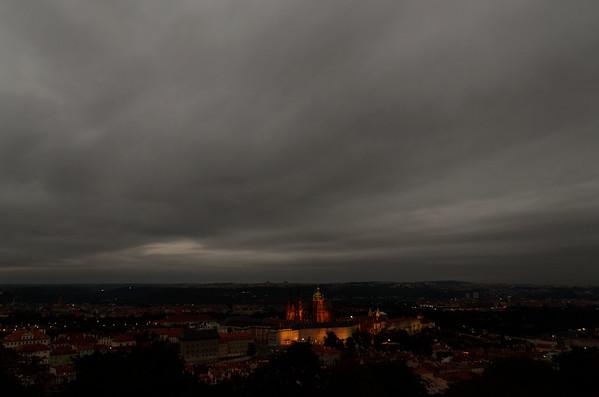 Prague at night from Petrin tower