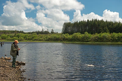 Playing a brown trout Glencrewan Lough Fermanagh STOCKED