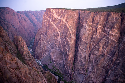 The stunning geology of Painted Wall in Black Canyon of the Gunnison National Park in Colorado.
