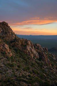 Colorful sunset over the Tucson Mountains in Arizona.