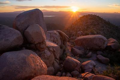 Granite boulders high on a ridge in Saguaro National Park in Arizona.