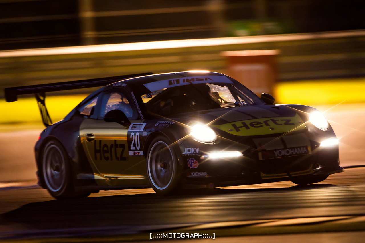 GT3 Cup Challenge winner Sloan Urry under the lights in Austin