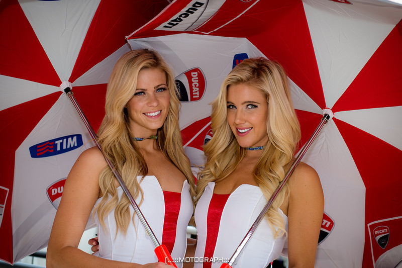 The Ducati Paddock Girls share a smile