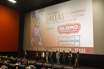 The audience and filmmakers engaged in a Q&A discussion after the North Texas College Shorts Showcase at the 2016 Dallas International Film Festival. The screening took place at the Alamo Drafthouse DFW. (Photo by Sam Hodde)