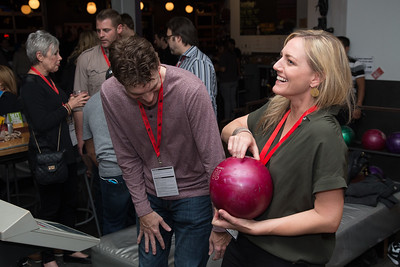 Two guests share a laugh at the SAG Indie Party during the 2017 Dallas International Film Festival at the Bowlounge in Dallas, Texas on April 5,2017. (Photo by Sam Hodde for the Dallas International Film Festival)