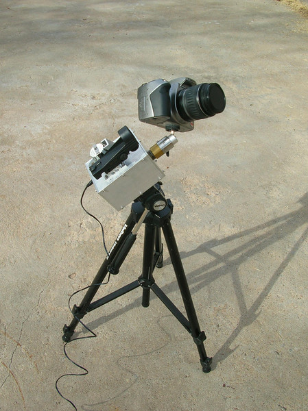Original version of the camera drive with smaller ball head on a small tripod