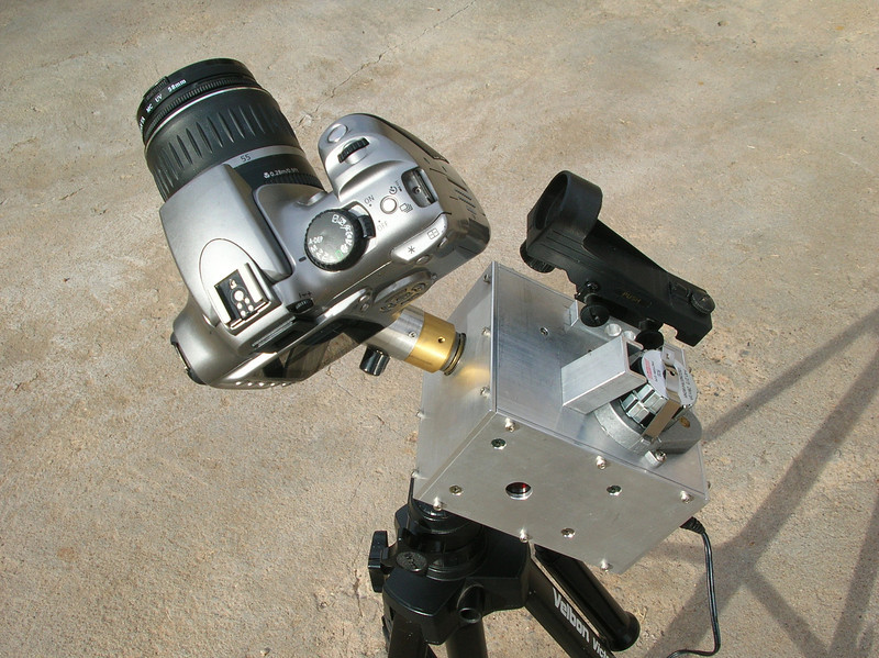 Another view of the original version of the camera drive with smaller ball head on a small tripod