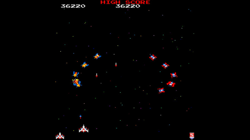 Screen shot of the MAME Galaga game, using the original ROM code, adapted for modern computers.  A retro look for a retro game, in a modern controller.