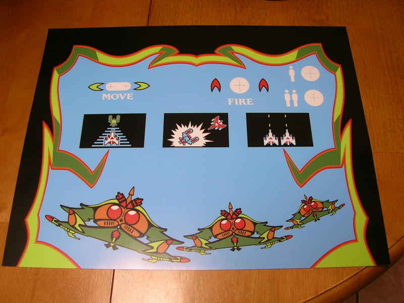 Custom designed laminated vinyl decal, with original Galaga Artwork