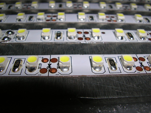Close-up of the 3528 SMD LED strip, showing the cut lines, every 3 LED's