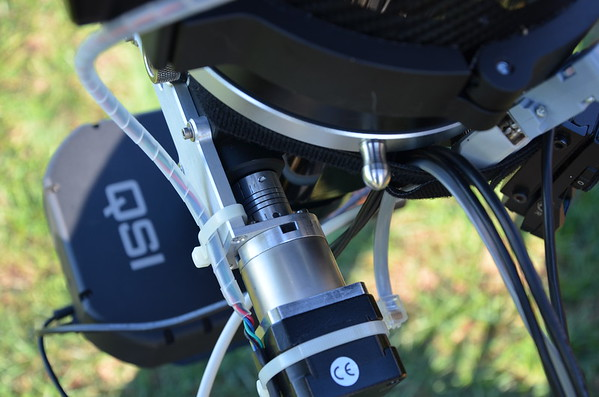 Custom focus motor mount on the Skywatcher Quantum 120 CF telescope.   Photo by Craig & Tammy Temple.  Used with Permission
