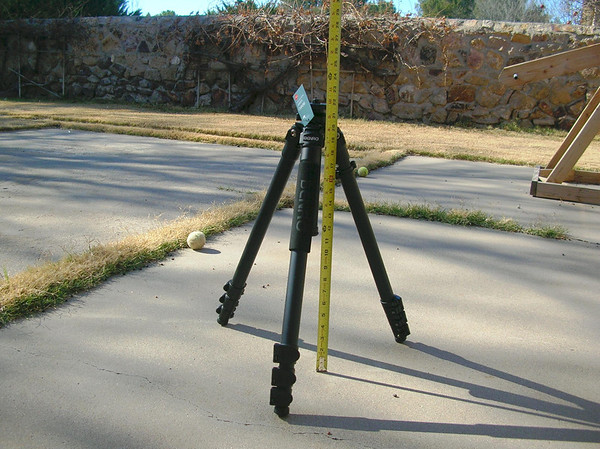 "Stock Benro A3580F tripod with aluminum legs.  Short Stance - 22.6"" Tall Stance (column not extended) -  Weight - 5.3 lbs"