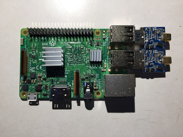 Raspberry Pi with the SDR dongles installed