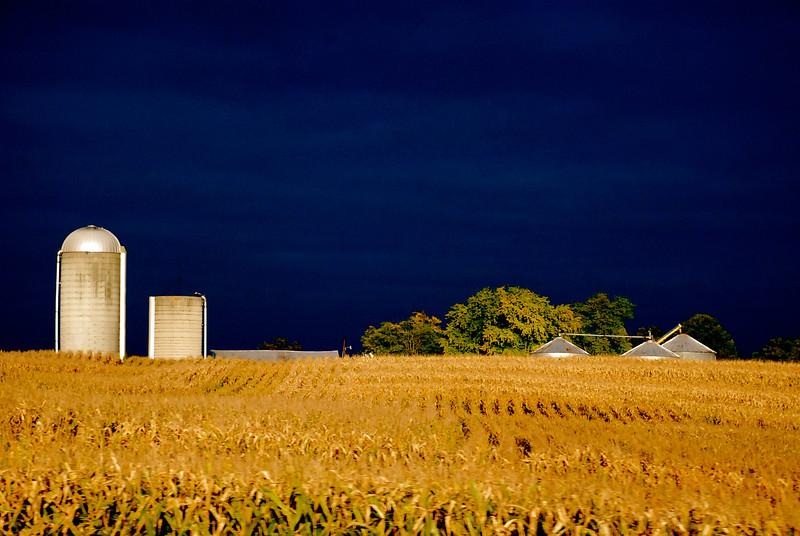 dark skies over farmland ~ Michigan ~ back-road trip to Lake Michigan with David Kushner ~ September 2010