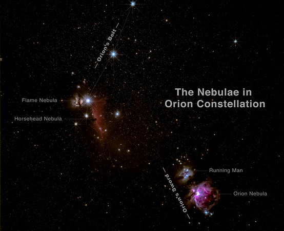 The Nebulae in Orion Constellation