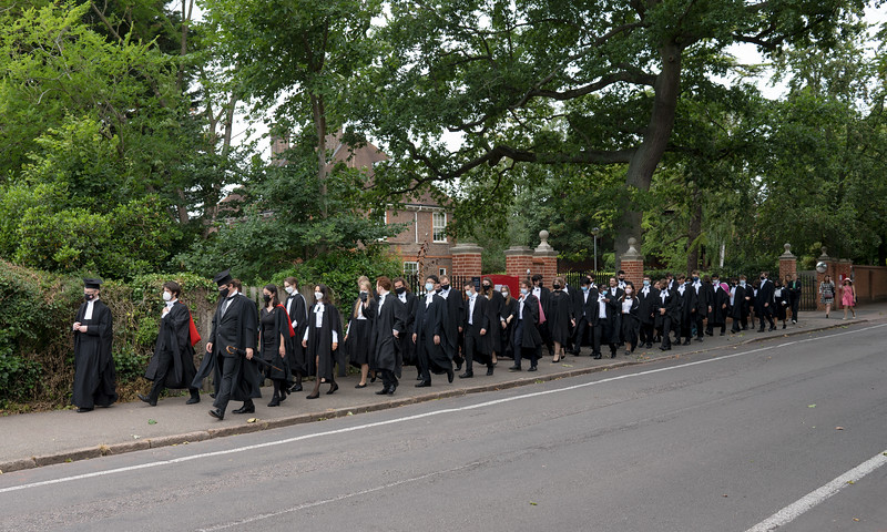 Procession from Churchill College to the Senate House, Cambridge (Jul 2021)