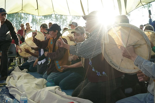 Men's traditional Dene hand game in Fort Nelson.
