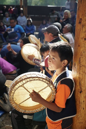 Young drummer from Fort Liard.