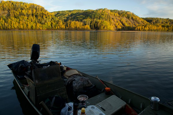 Morning along Liard River during fall moose hunt.