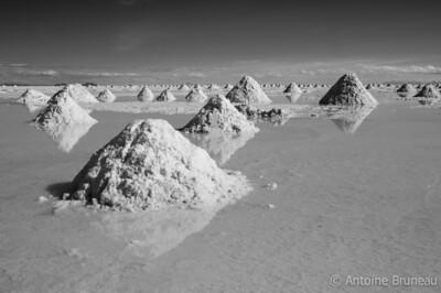 Salar de Uyuni, Bolivia. Piles of salt.