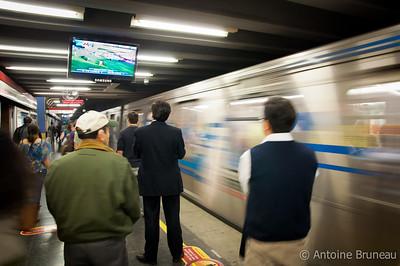 Santiago de Chile. Subway soccer at Los Leones station.