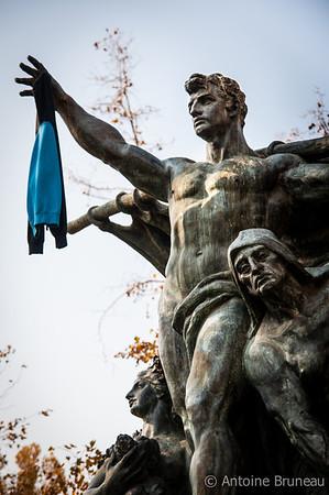 Santiago de Chile. The Fuente Alemana statue in Parque Forestal.