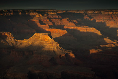 Sunsets warm glow. Hopi Point,Grand Canyon Az.