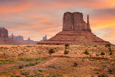 View of iconic West Mitten Butte at dusk in Monument Valley Navajo Tribal Park, Arizona