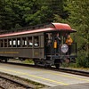 The caboose of the White Pass & Yukon Route train.<br /> Skagway, AK.<br /> July 13, 2010.