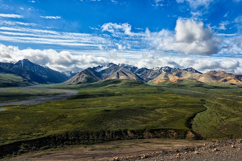 Braided rivers fill only a small portion of their gravelly streambeds with water, but they carry huge loads of rock, mud and glacial flour eroded by the glaciers at the rivers' headwaters.<br /> Denali National Park, AK.<br /> July 7, 2010.