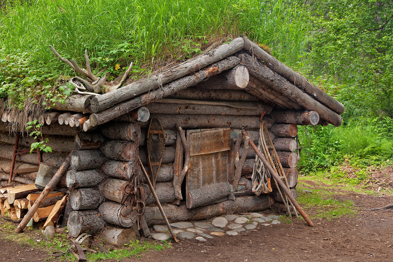 Replica of an Athabaskan log cabin.<br /> A short hike on our jet boat excursion on the Talkeetna, Susitna, and Chulitna Rivers.<br /> July 5, 2010.