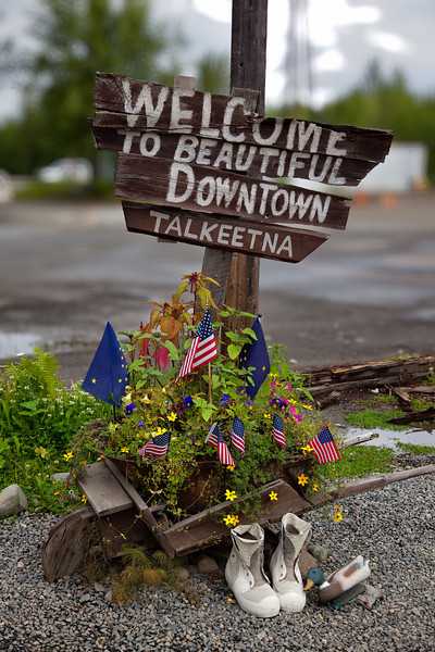 Welcome sign at the entrance to the small town of Talkeetna, AK.<br /> July 6, 2010.