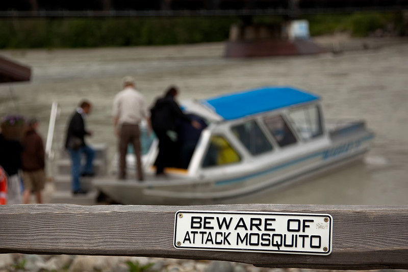 Fair warning before we board our jet boat for a ride on the Talkeetna, Susitna and Chulitna Rivers.<br /> July 5, 2010.