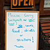Interesting warning sign in front of a Talkeetna, AK shop.<br /> July 6, 2010.