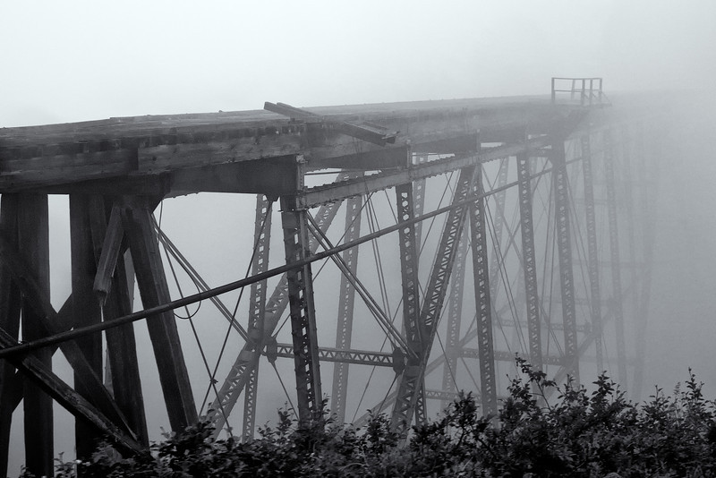 The Steel Cantilever Bridge.  Completed in 1901, this was the highest cantilever in the world.  It was replaced by a sturdier steel deck plate girder bridge in 1969.<br /> White Pass & Yukon Route, Skagway, AK.<br /> July 13, 2010.