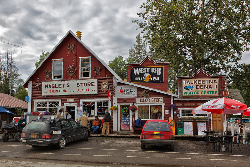 Shop fronts in Talkeetna.  This is the only grocery store in town.<br /> Talkeetna, AK.<br /> July 6, 2010.