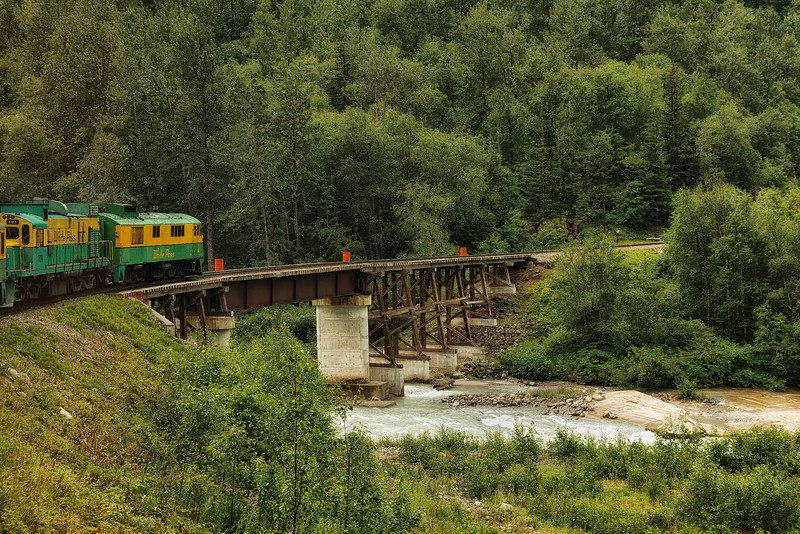Crossing a river on the White Pass & Yukon Route.<br /> Skagway, AK.<br /> July 13, 2010.