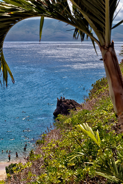 Maui:  Looking down at the Black Rock on Ka'anapali Beach (Lana'i in the distance)