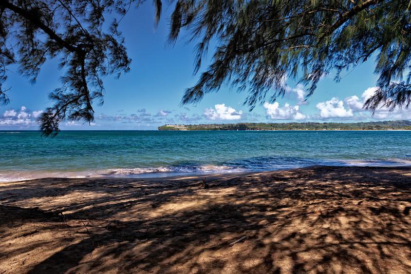 Kauai: A section of Hanalei beach.