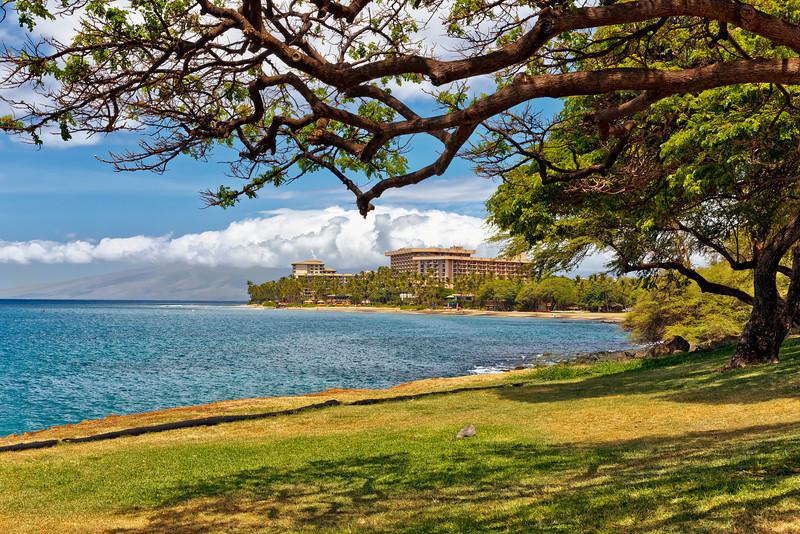 Maui:  Shoreline in Lahaina looking toward Kaanapali Beach hotels.