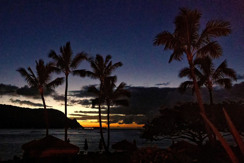 Kauai: Looking at Hanalei bay about an hour past sunset (taken in almost total darkness) - from the beach at the St. Regis Hotel in Princeville.
